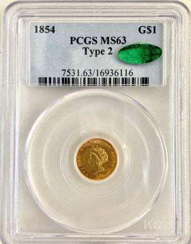 1854 G $1 PCGS MS 65 Type 2 CAC 16934116