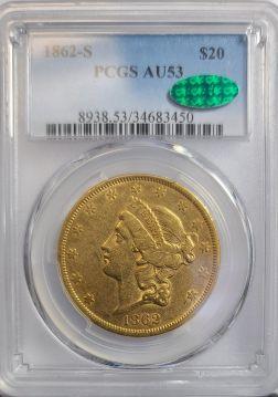 1862 S $20 PCGS AU53  CAC
