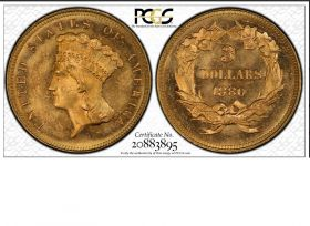 1880 $3 Indian Princess PCGS MS64 CAC 20883895