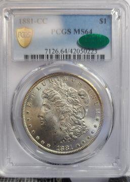 1881 CC $1 PCGS MS64  CAC