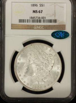 1896 Morgan $1 NGC MS67 CAC-1845734-001