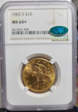 1902 S $10 NGC MS64+  CAC