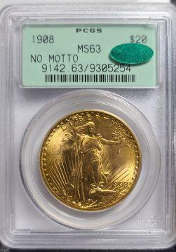 1908  $20 PCGS MS63 No Motto CAC