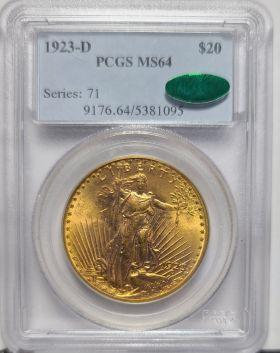 1923 D $20 PCGS MS64  CAC