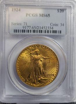 1924  $20 PCGS MS65