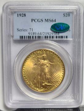 1928  $20 PCGS MS64 CAC