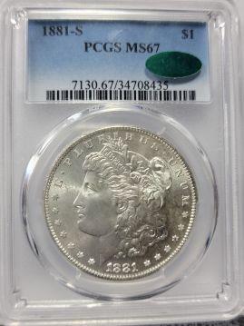 1881 S $1 PCGS MS67  CAC