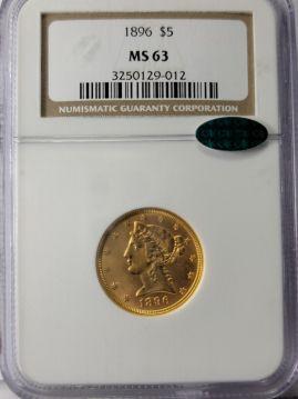 1896  $5 NGC MS63  CAC 3250129-012