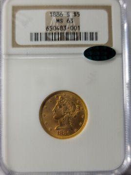 1886 S $5 NGC MS63  CAC 650483-001