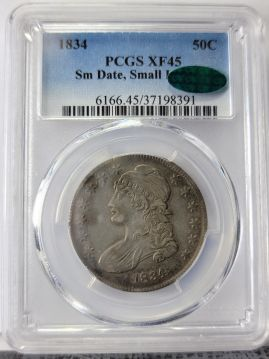 1834  50C PCGS XF45 SmDt, SmLt CAC 37198391