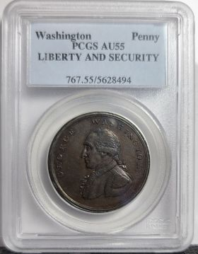 (1795) Penny Liberty and Security -  PCGS AU55