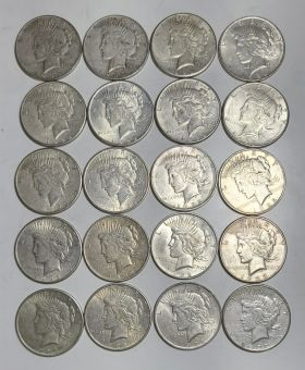 1 Roll (20 Coins) Circulated Peace Dollars