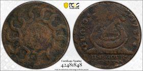 1787  Fugio PCGS F Details States United 4 Cinq