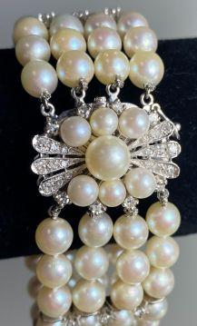 Vintage Diamond 4 Row Cultured Pearl 14K White Gold Bracelet