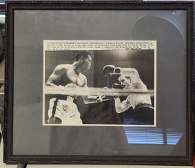 Framed B & W Photo of Sugar Ray Robinson and Wilfie Greaves 1961